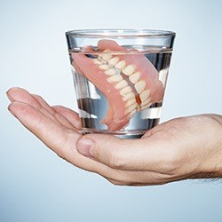 Full set of dentures in glass of water