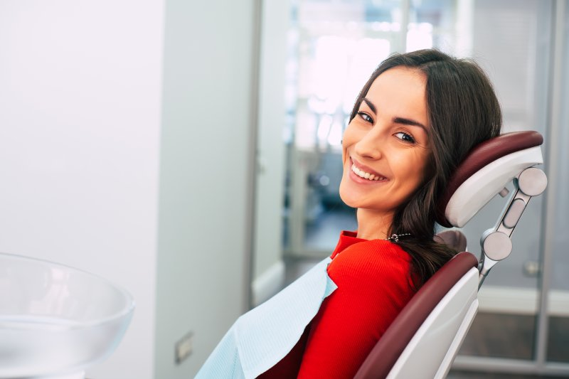 Woman in dentist's chair