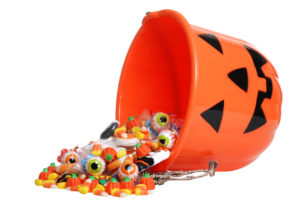 Spilled Halloween candy bucket
